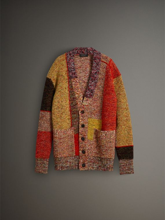 Wool Linen Mohair Blend Mouliné Oversized Cardigan in Multicolour - Men | Burberry United Kingdom - cell image 3