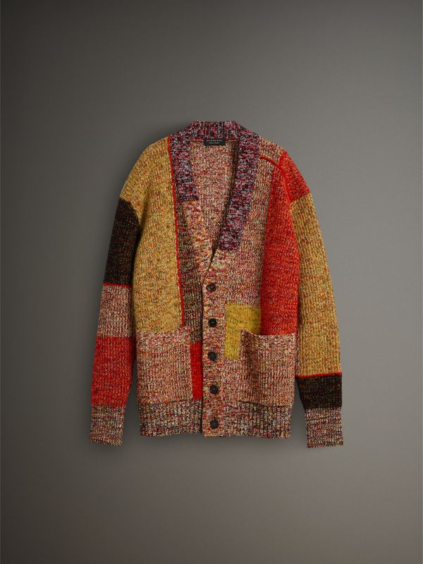 Wool Linen Mohair Blend Mouliné Oversized Cardigan in Multicolour - Men | Burberry - cell image 3