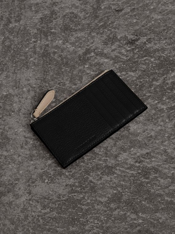 Two-tone Leather Zip Card Case in Black