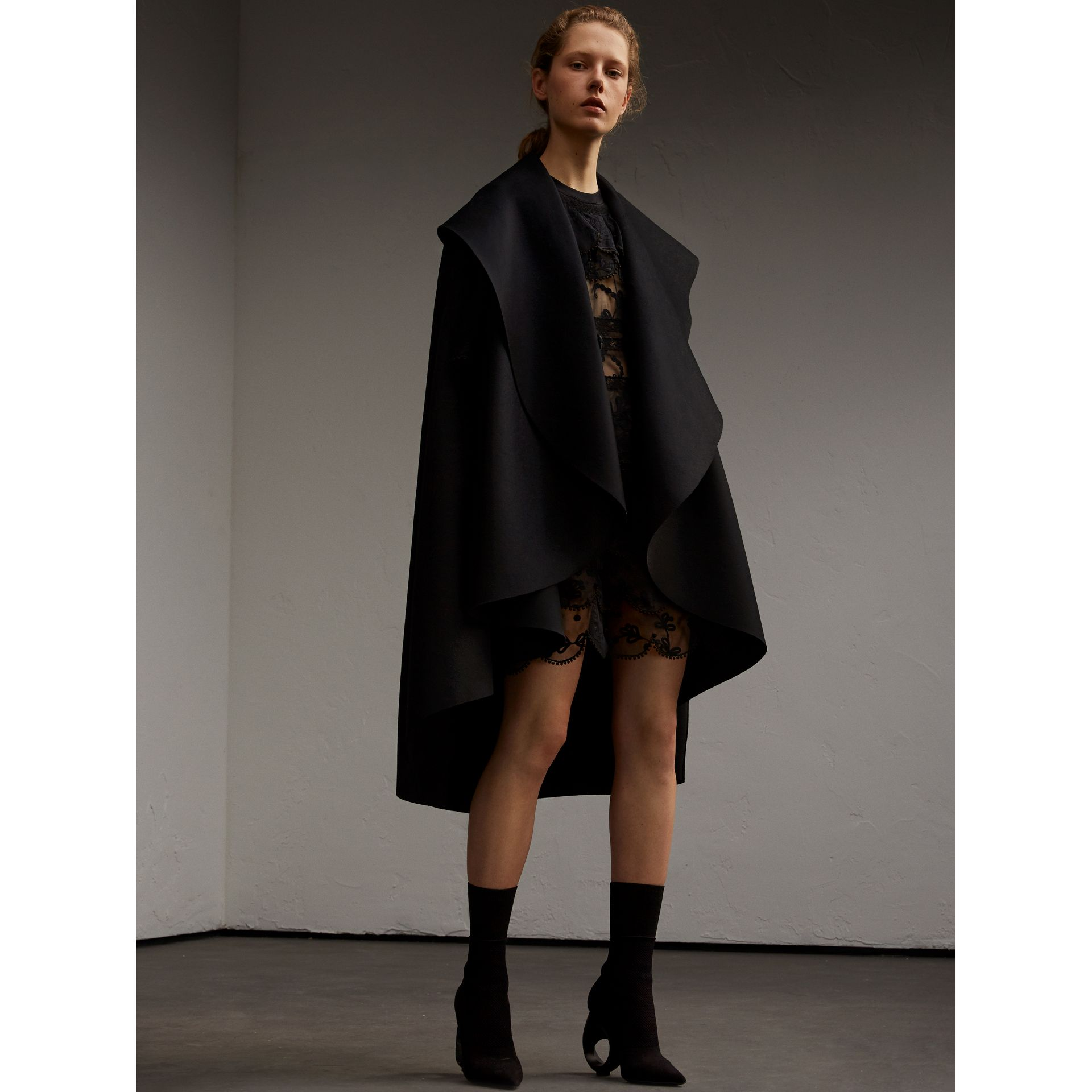 Oversize Collar Double-Faced Military Wool Cape - gallery image 6