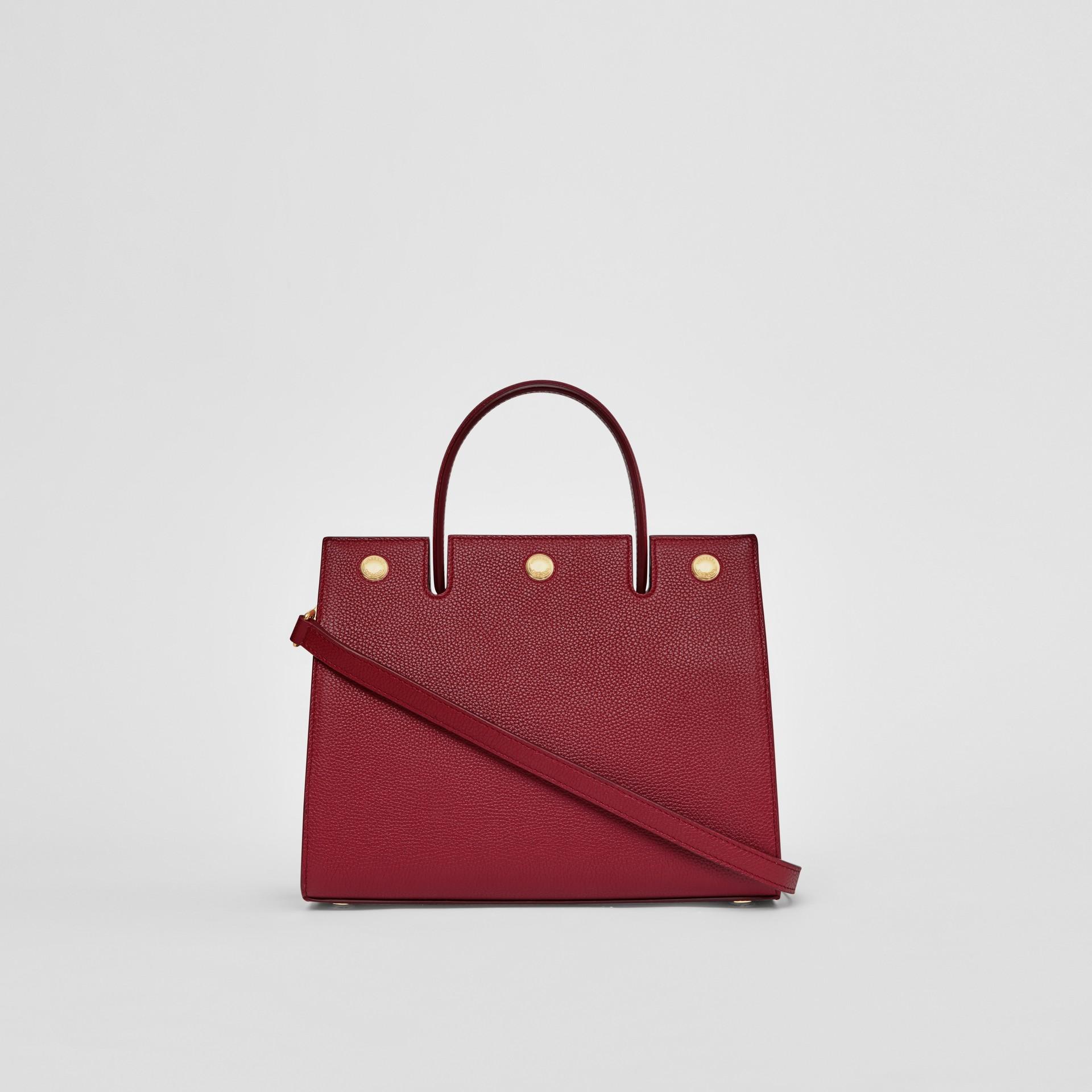 Mini Leather Title Bag in Dark Crimson - Women | Burberry United Kingdom - gallery image 7