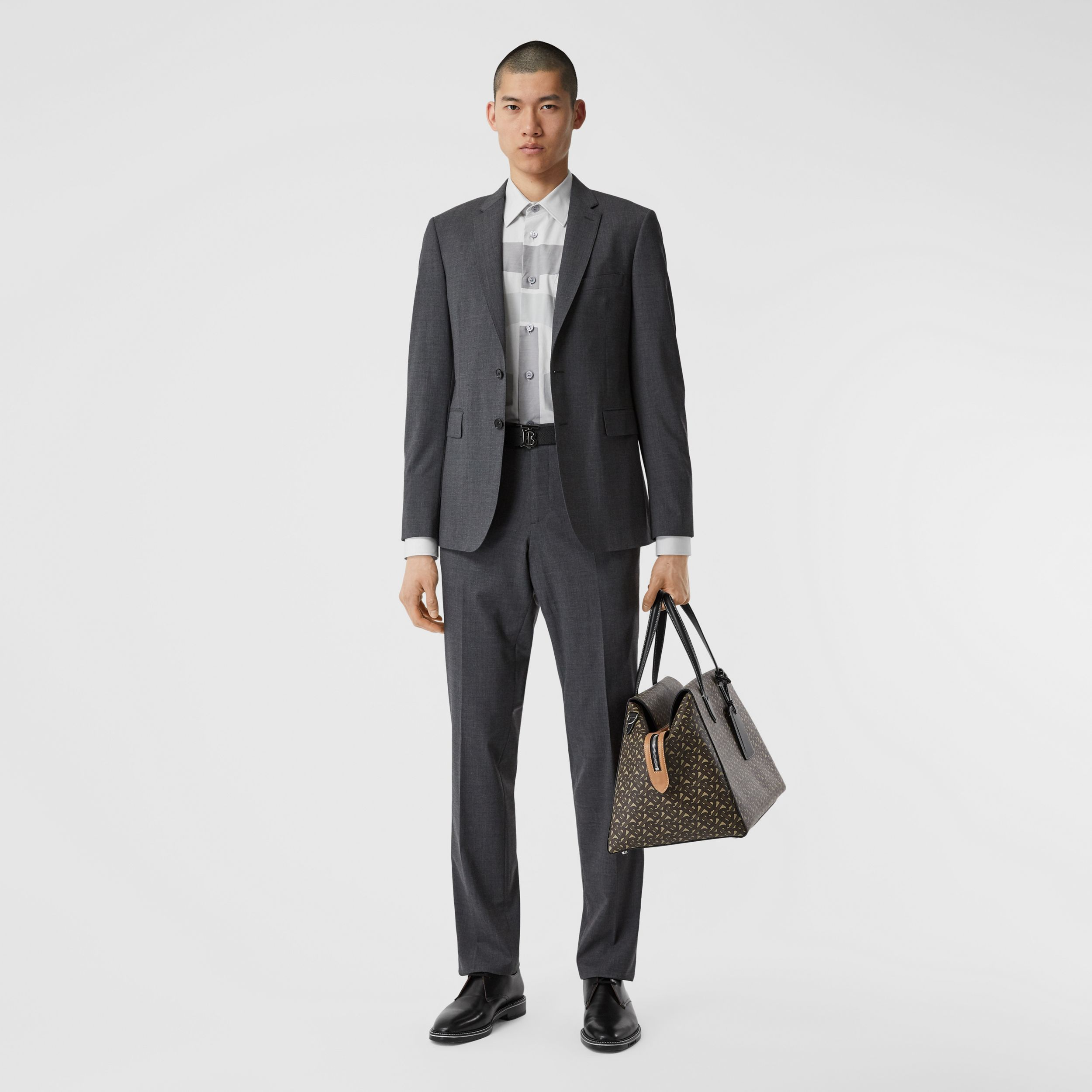 Slim Fit Stretch Wool Suit in Cloud Grey Melange - Men | Burberry - 1