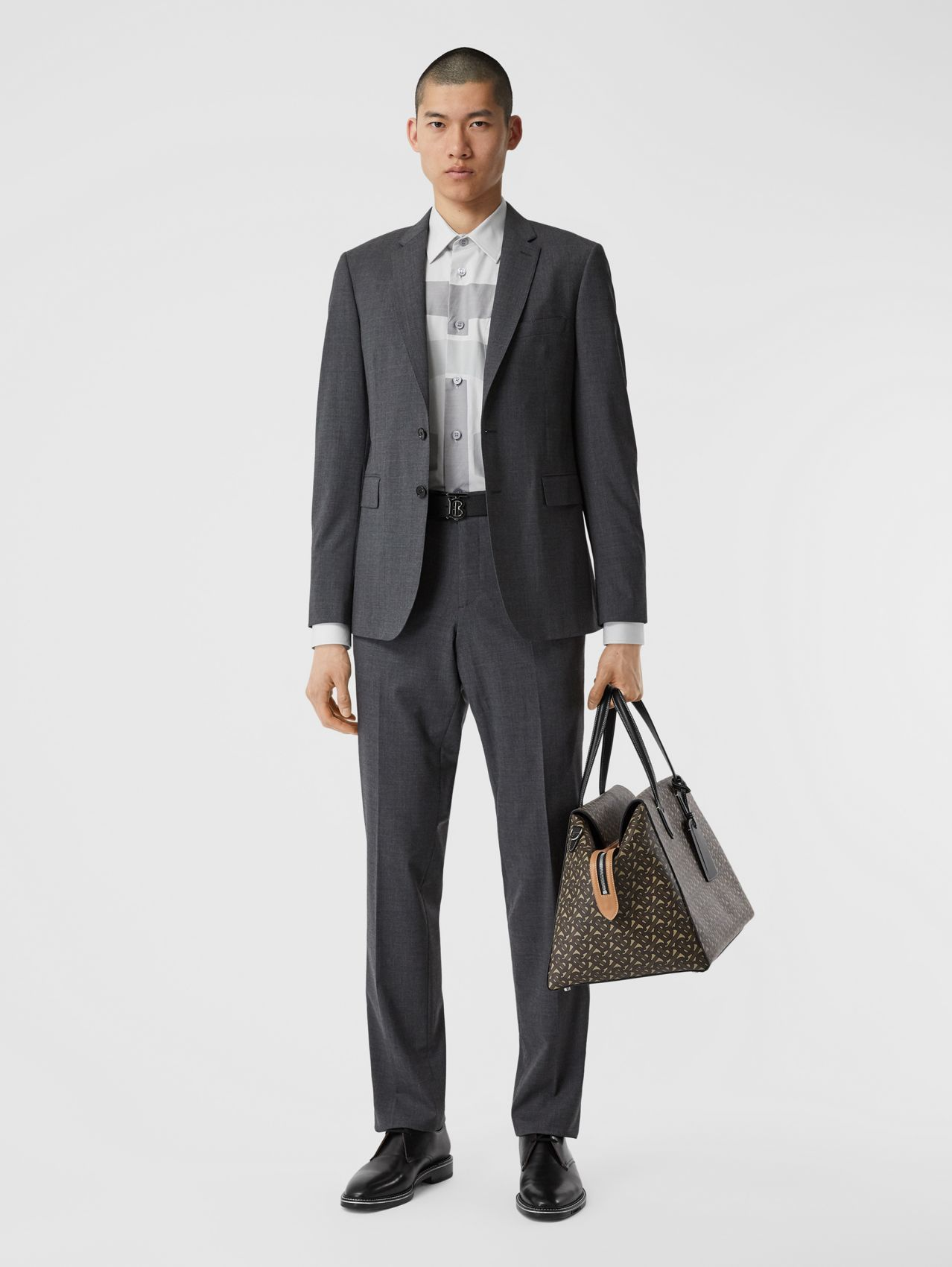 Slim Fit Stretch Wool Suit in Cloud Grey Melange