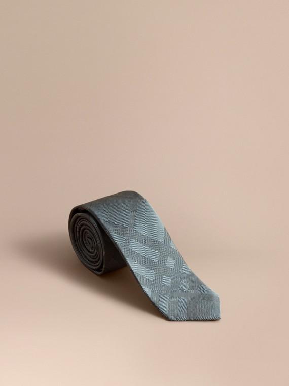 Slim Cut Check Silk Tie in Sea Green