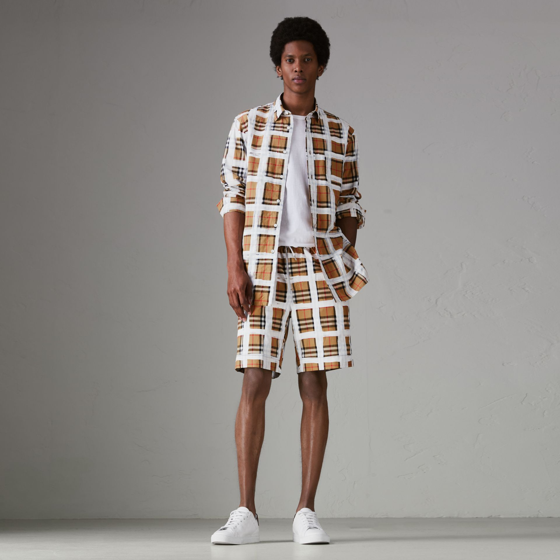 Painted Vintage Check Cotton Drawcord Shorts in Antique Yellow - Men | Burberry Singapore - gallery image 0