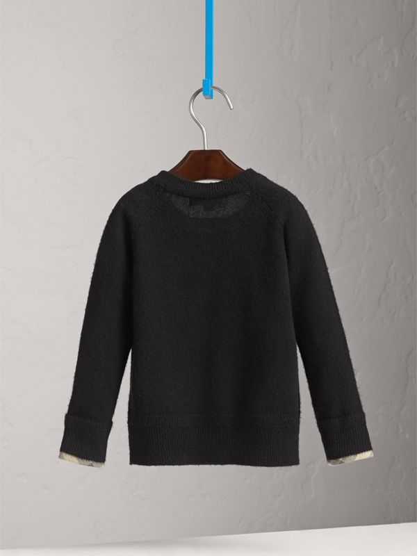 Check Cuff Cashmere Sweater in Black | Burberry United States - cell image 3