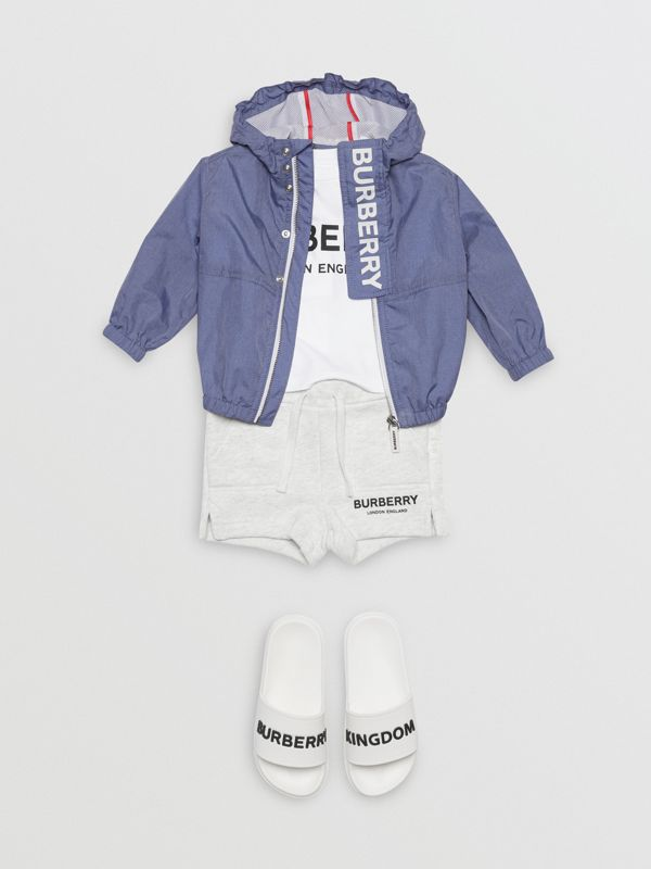 Logo Print Lightweight Hooded Jacket in Sapphire Blue - Children | Burberry - cell image 3