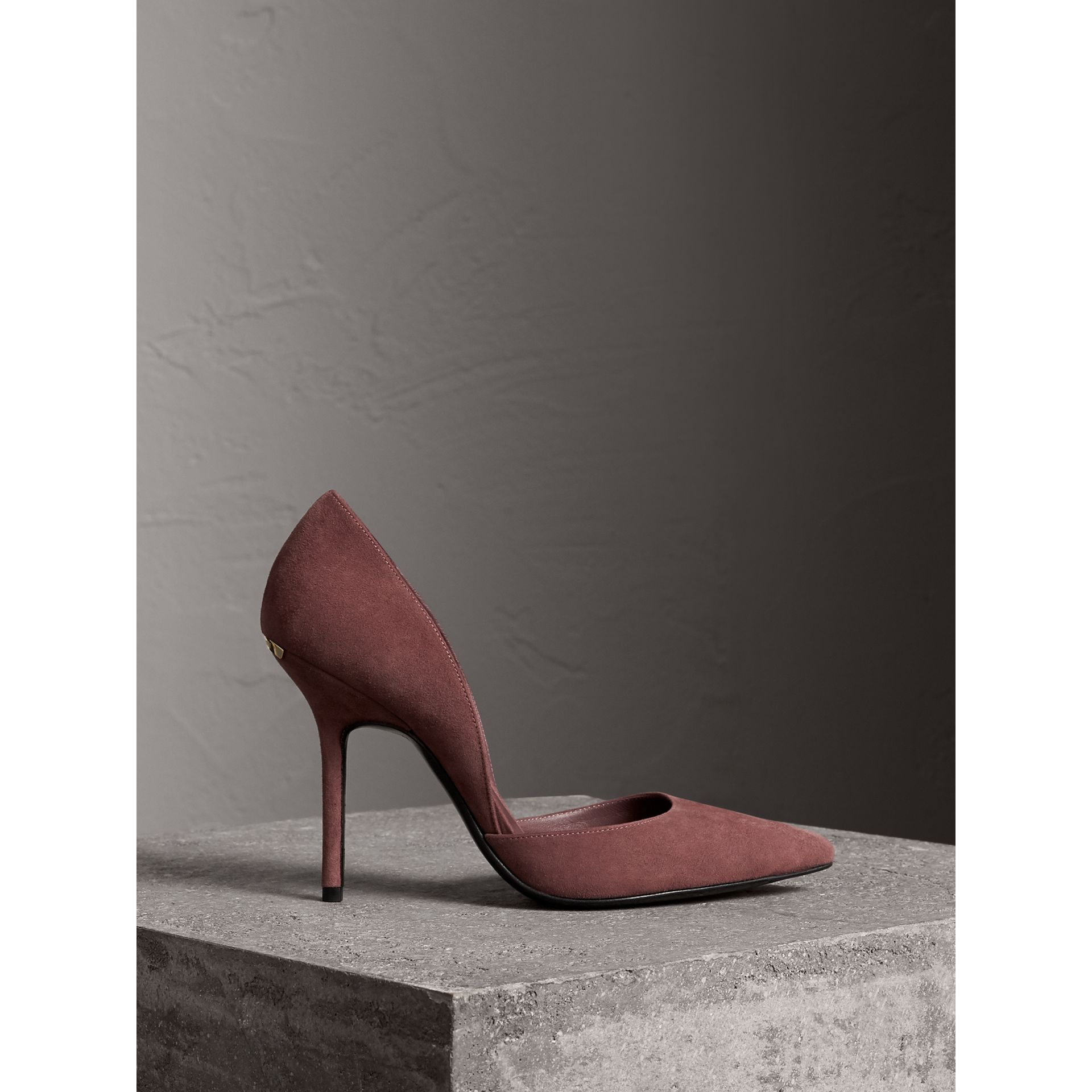 Point-toe Suede D'Orsay Pumps in Taupe Rose - Women | Burberry United Kingdom - gallery image 1