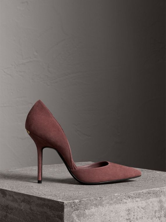 Point-toe Suede D'Orsay Pumps in Taupe Rose