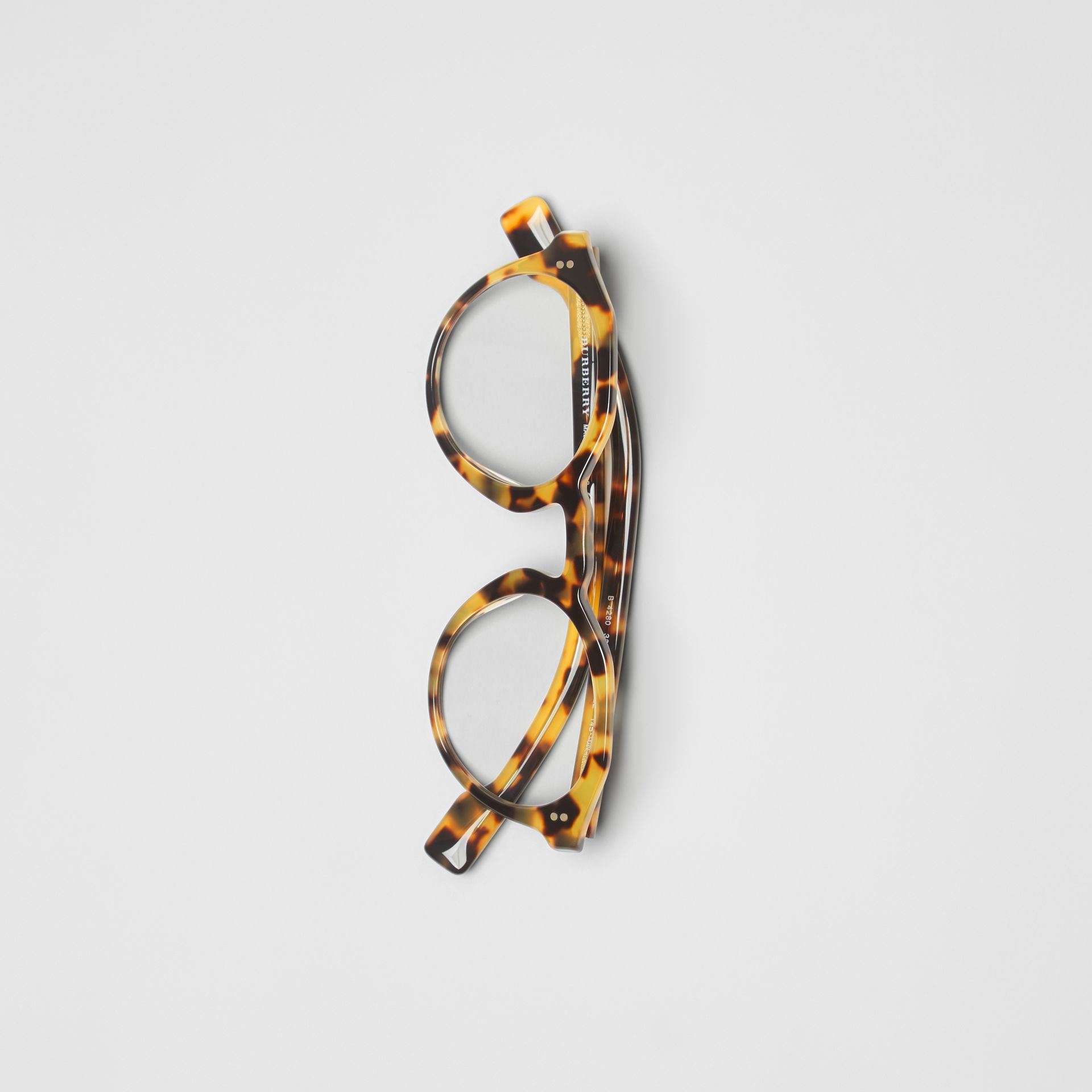 Keyhole Round Optical Frames in Tortoise Shell - Men | Burberry Australia - gallery image 3