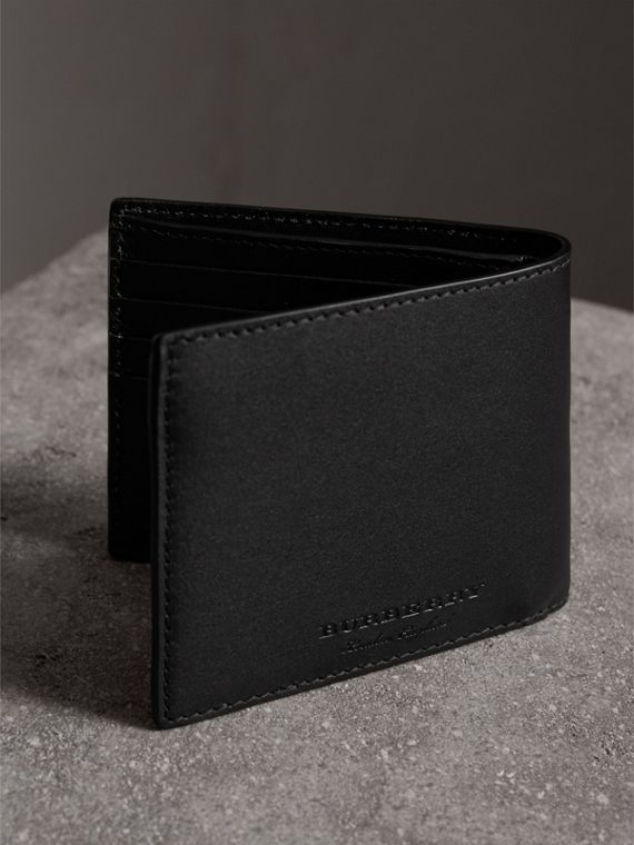 Riveted Leather International Bifold Wallet in Black - Men | Burberry Australia - cell image 2