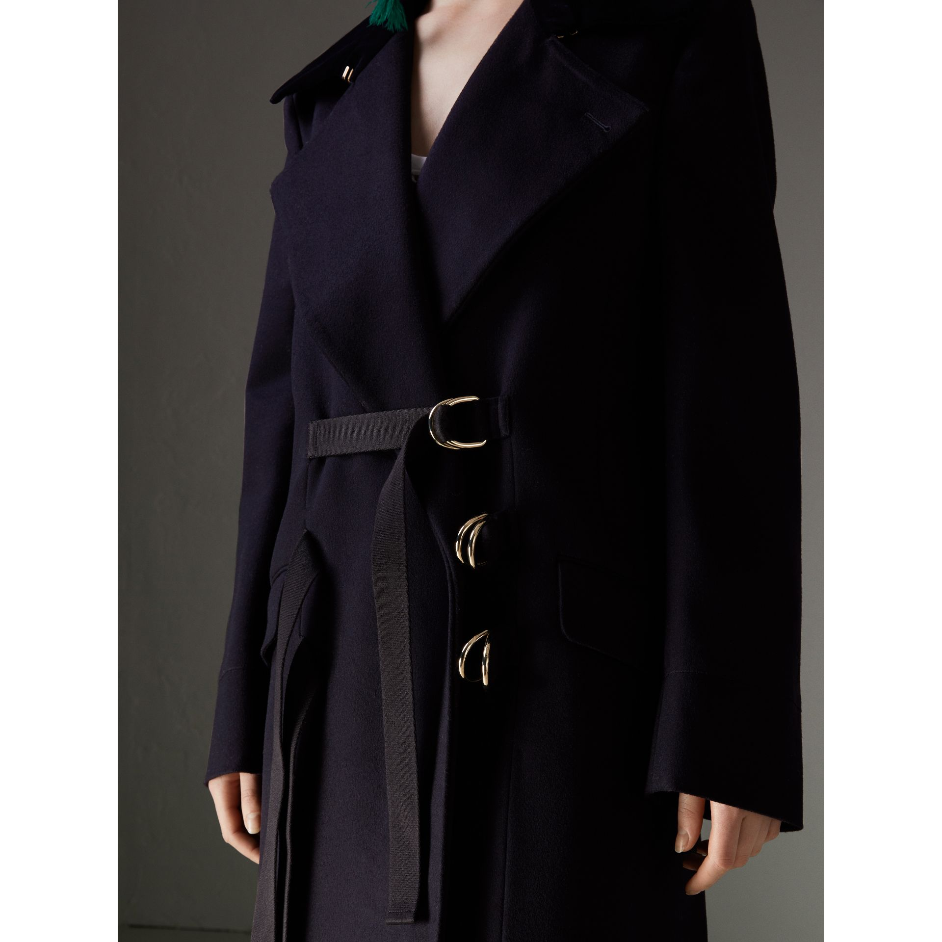 D-ring Detail Doeskin Wool Coat in Dark Navy - Women | Burberry - gallery image 1