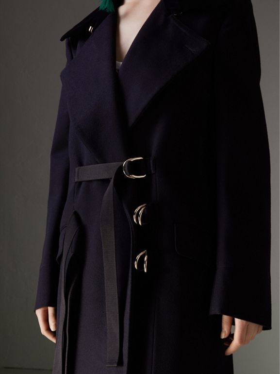 D-ring Detail Doeskin Wool Coat in Dark Navy - Women | Burberry - cell image 1