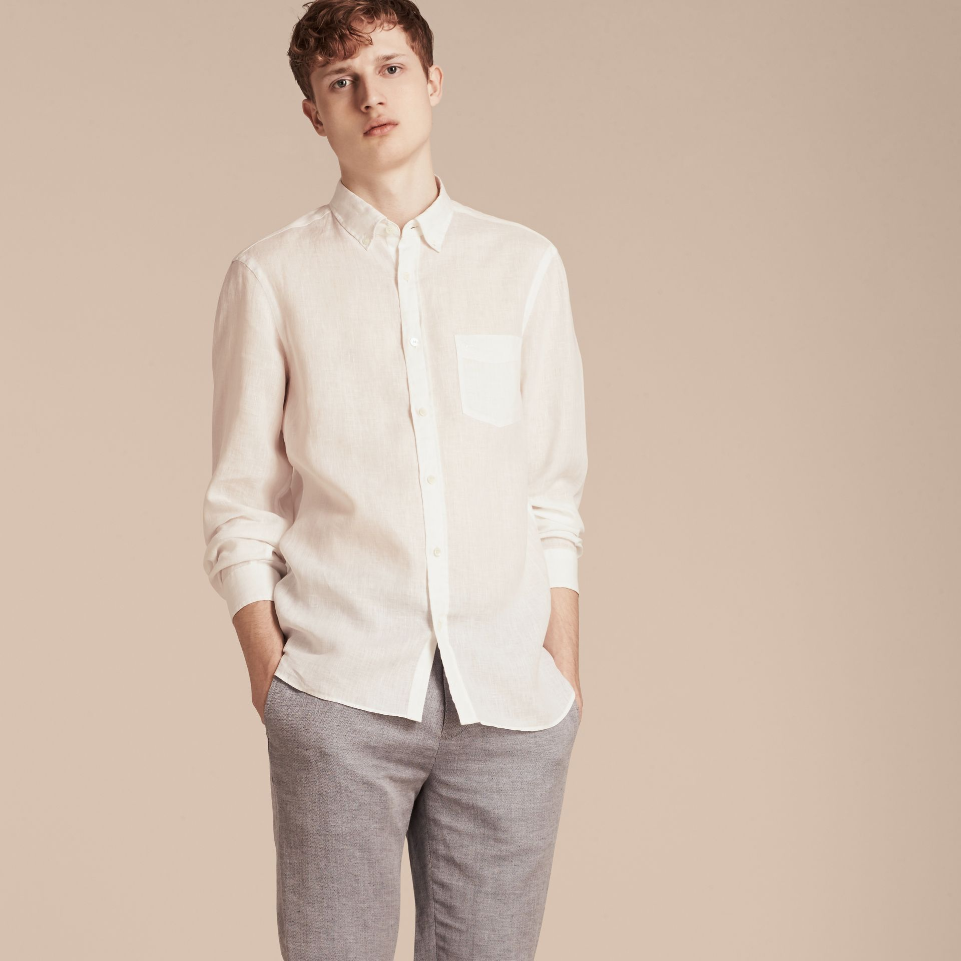 White Button-down Collar Linen Shirt White - gallery image 6