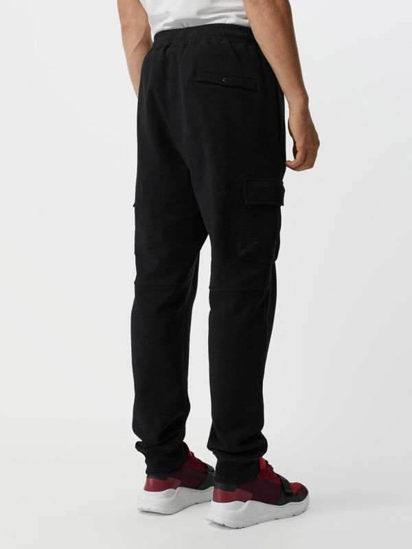 Pocket Detail Cotton Jersey Trackpants in Black - Men | Burberry - cell image 2
