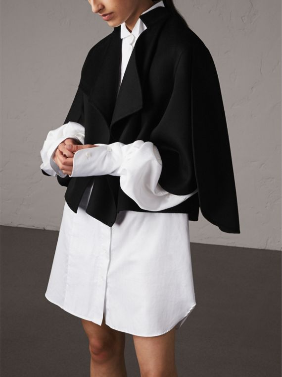 Curved Hem Wool Cashmere Cape in Black