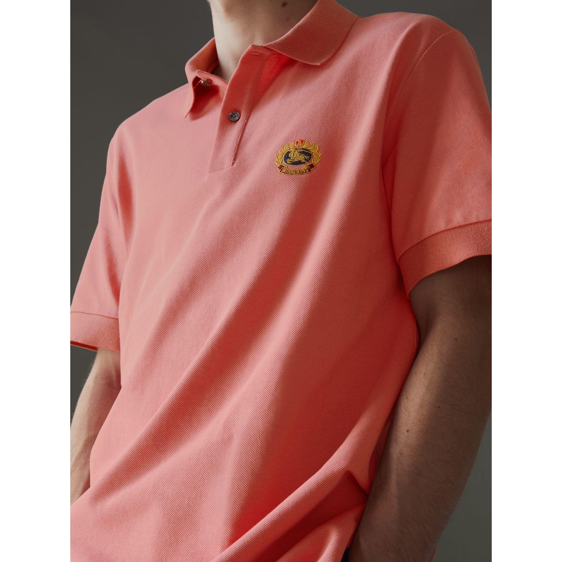 Reissued Cotton Polo Shirt in Coral - Men | Burberry - gallery image 1