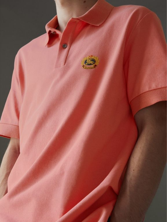 Reissued Cotton Polo Shirt in Coral - Men | Burberry - cell image 1
