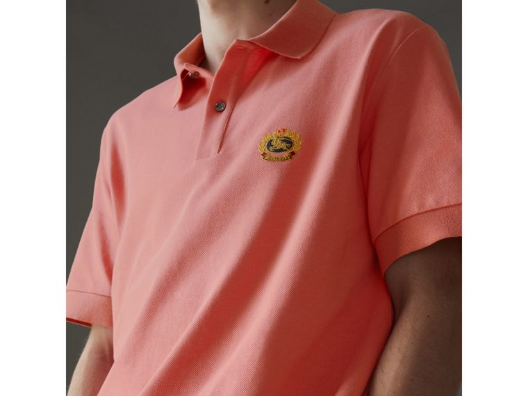 Reissued Cotton Polo Shirt in Coral - Men | Burberry Singapore - cell image 1