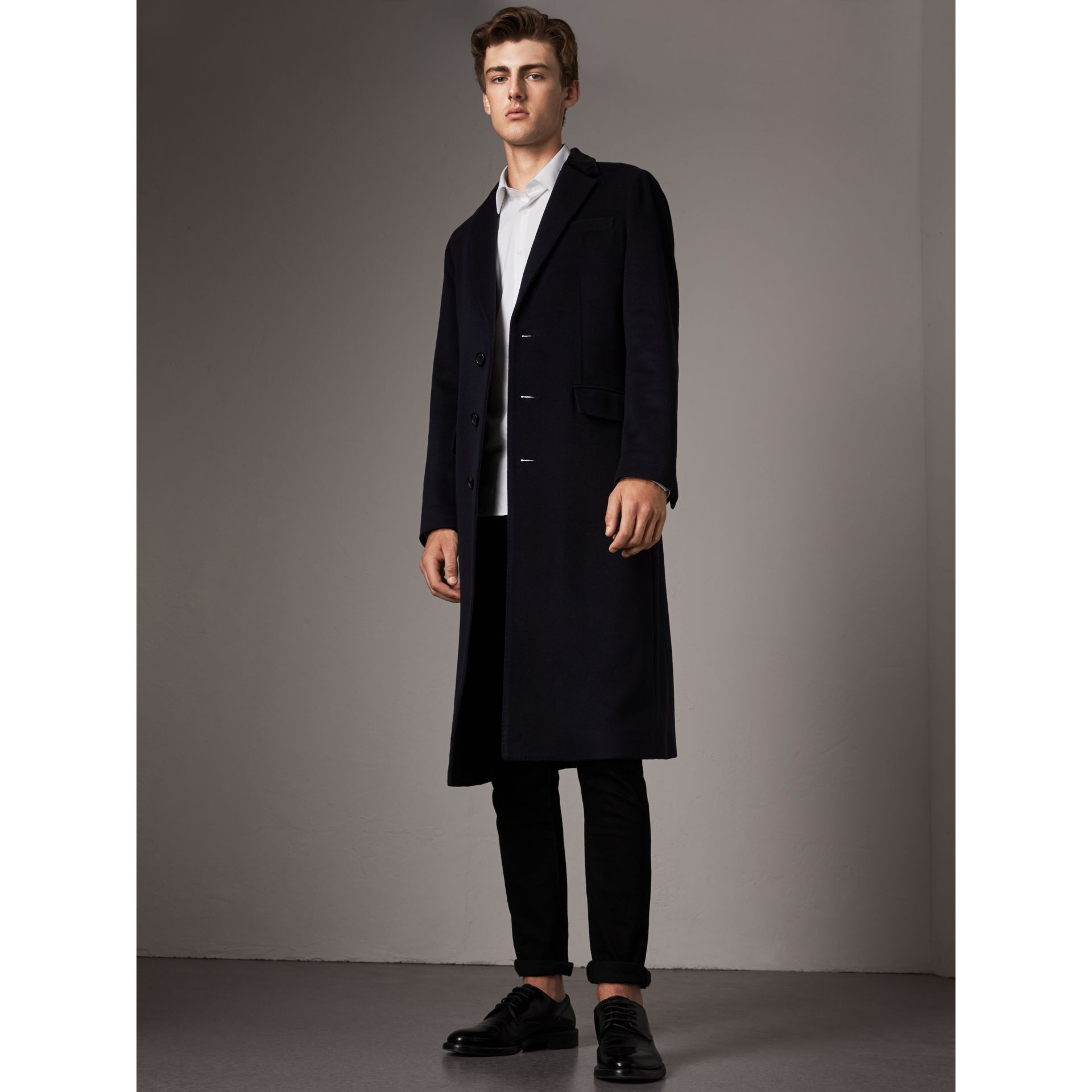 Velvet Collar Wool Cashmere Coat in Navy - Men | Burberry - gallery image 1