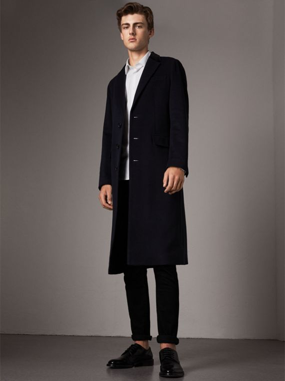 Velvet Collar Wool Cashmere Coat in Navy