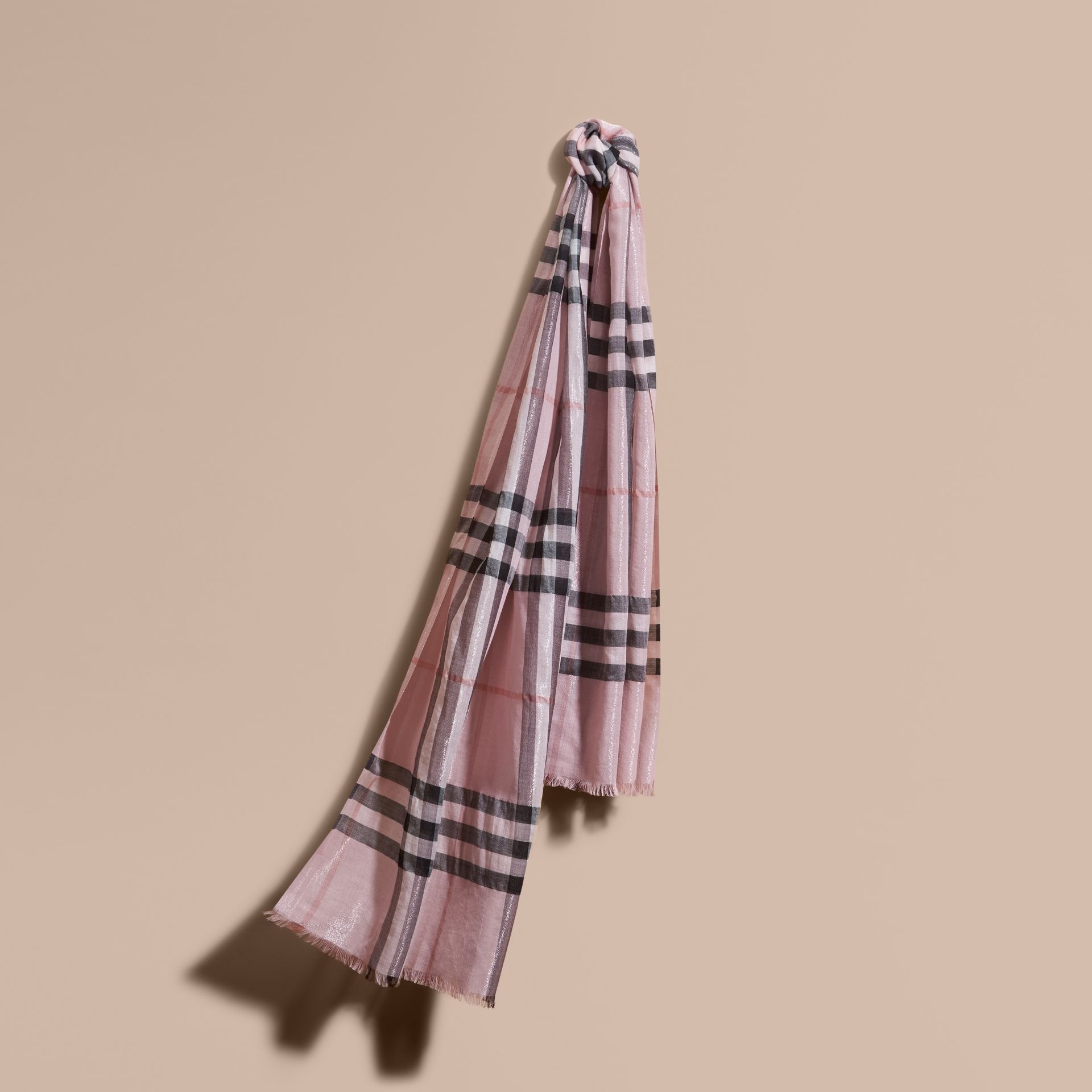 Metallic Check Silk and Wool Scarf Ash Rose/silver - gallery image 1