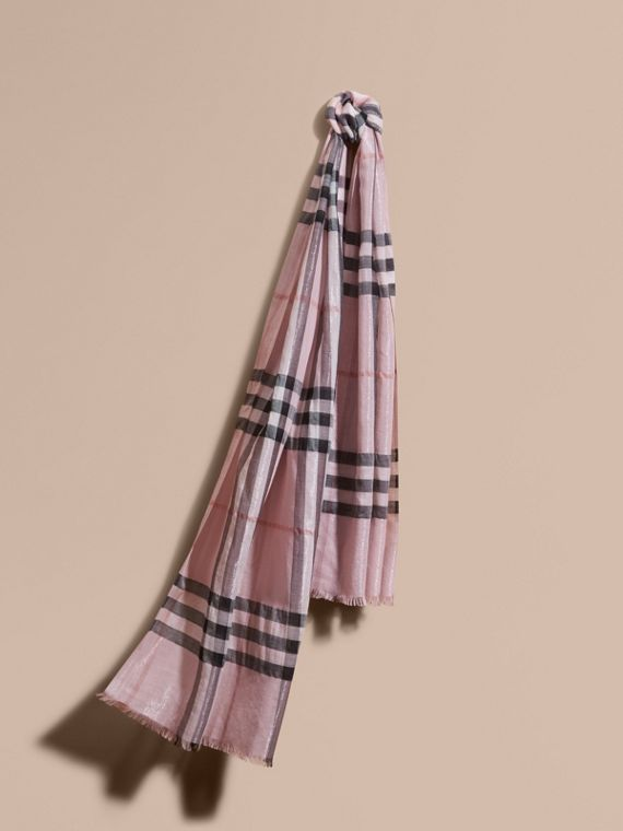 Metallic Check Silk and Wool Scarf Ash Rose/silver