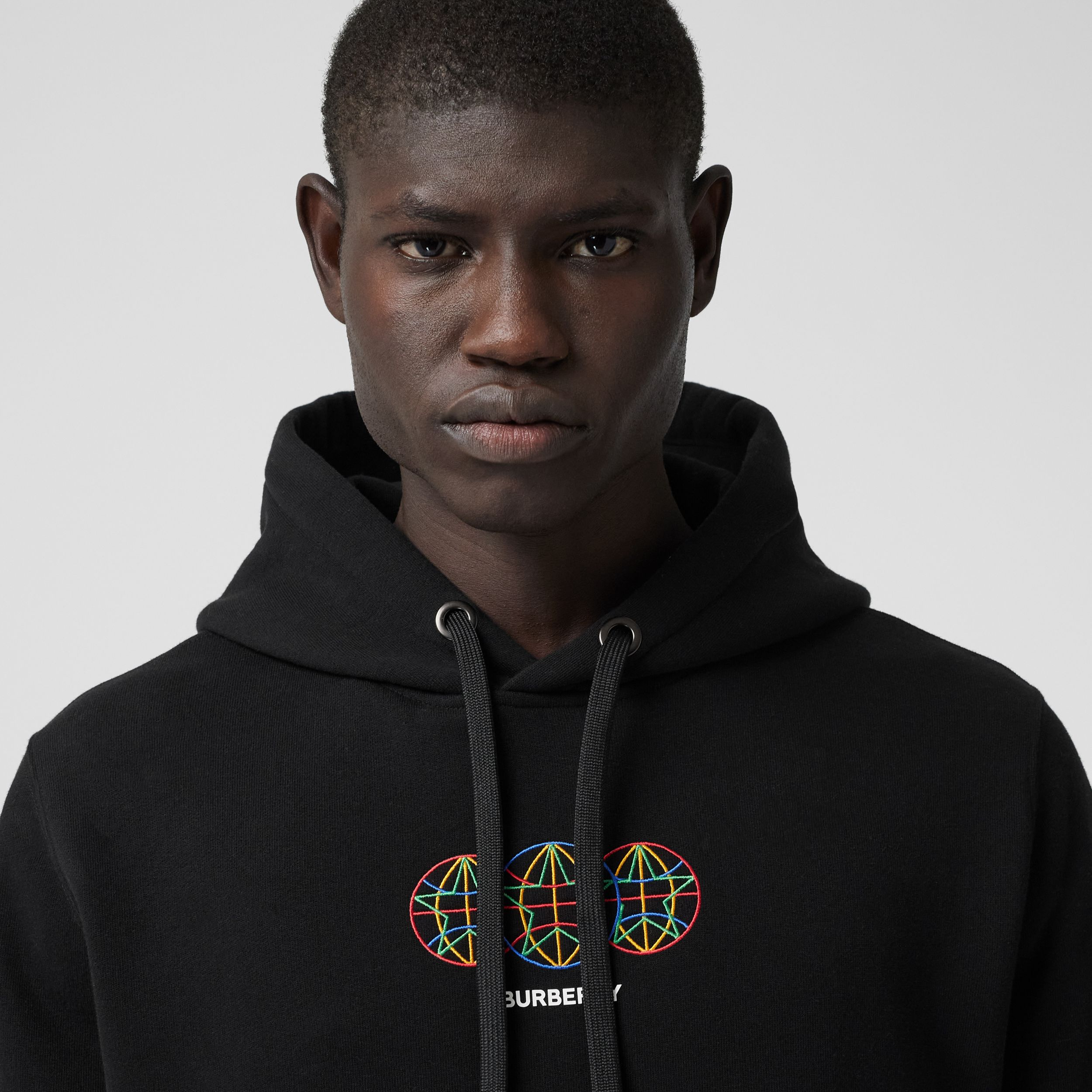 Embroidered Globe Graphic Cotton Hoodie in Black - Men | Burberry - 2