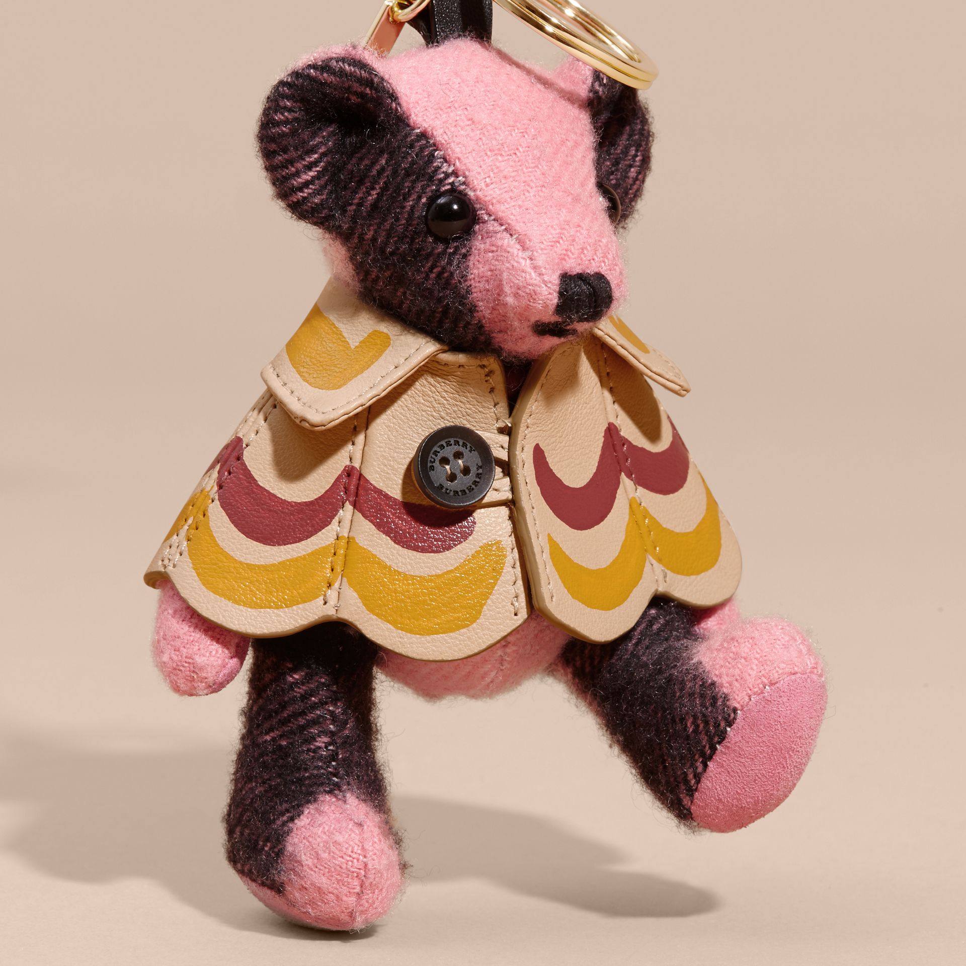 Thomas Bear Charm in Trompe L'oeil Print Cape in Rose Pink - Women | Burberry Australia - gallery image 4
