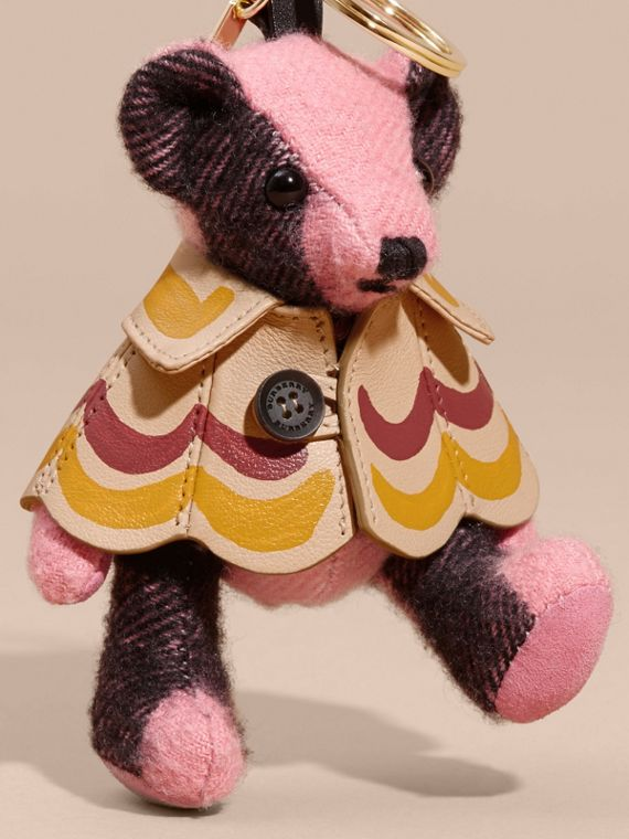 Thomas Bear Charm in Trompe L'oeil Print Cape in Rose Pink - Women | Burberry - cell image 3