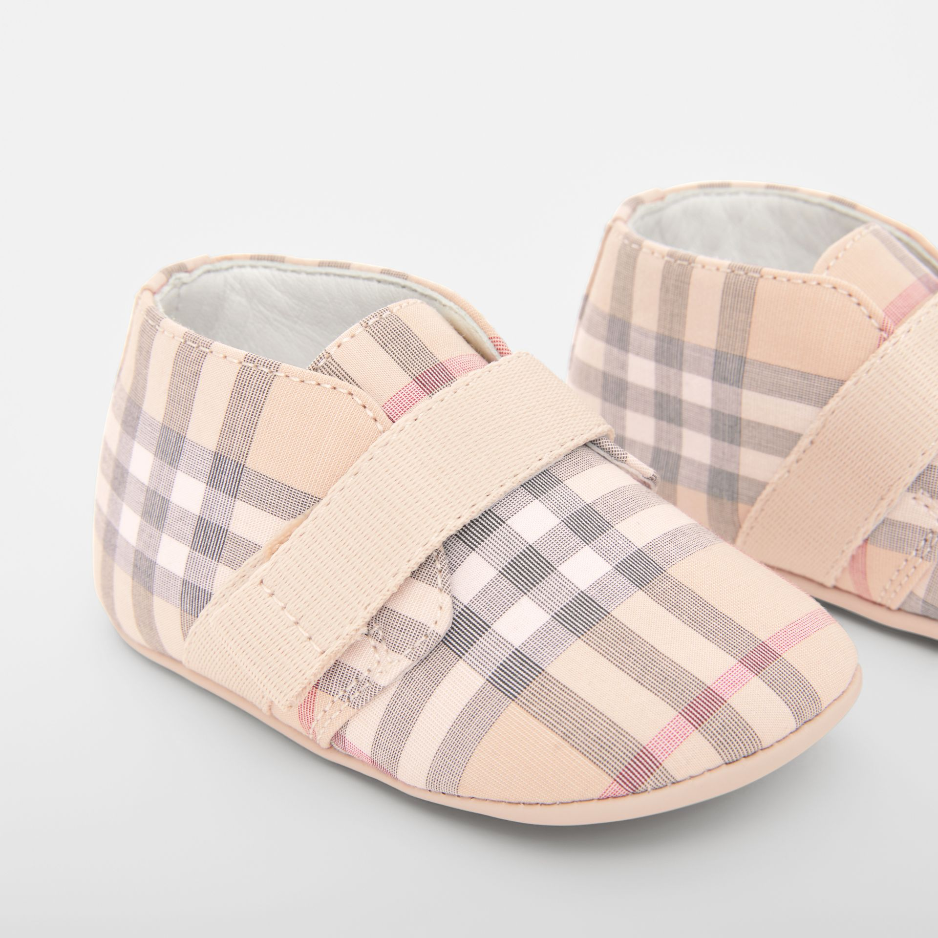 Check Cotton and Leather Shoes in Pale Stone - Children | Burberry United States - gallery image 1
