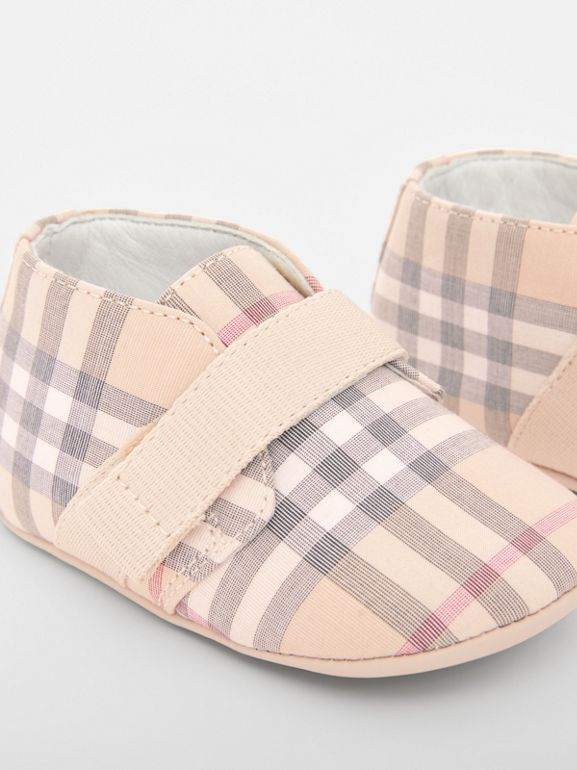 Check Cotton and Leather Shoes in Pale Stone - Children | Burberry - cell image 1