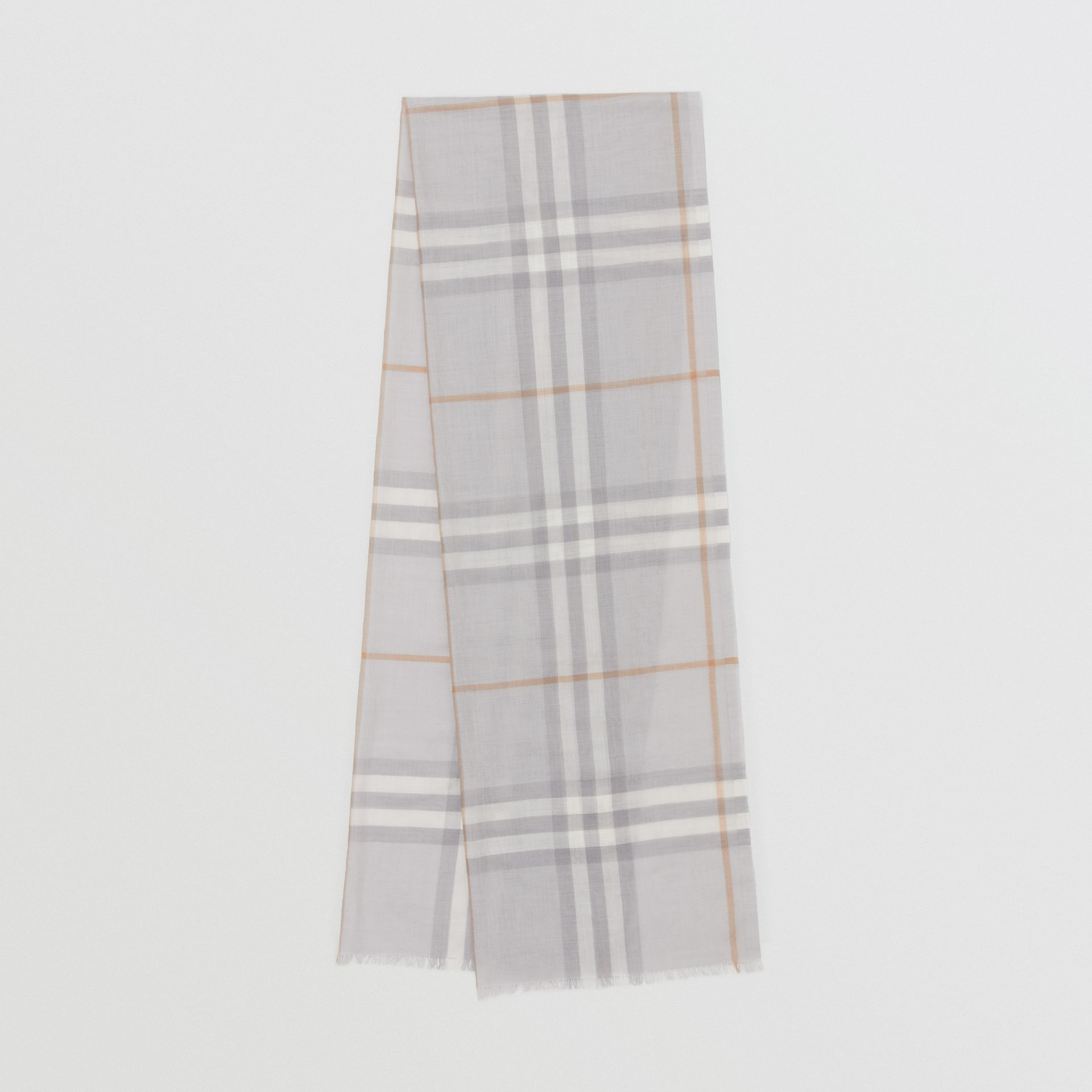 Lightweight Check Wool Silk Scarf in Light Grey | Burberry - gallery image 0