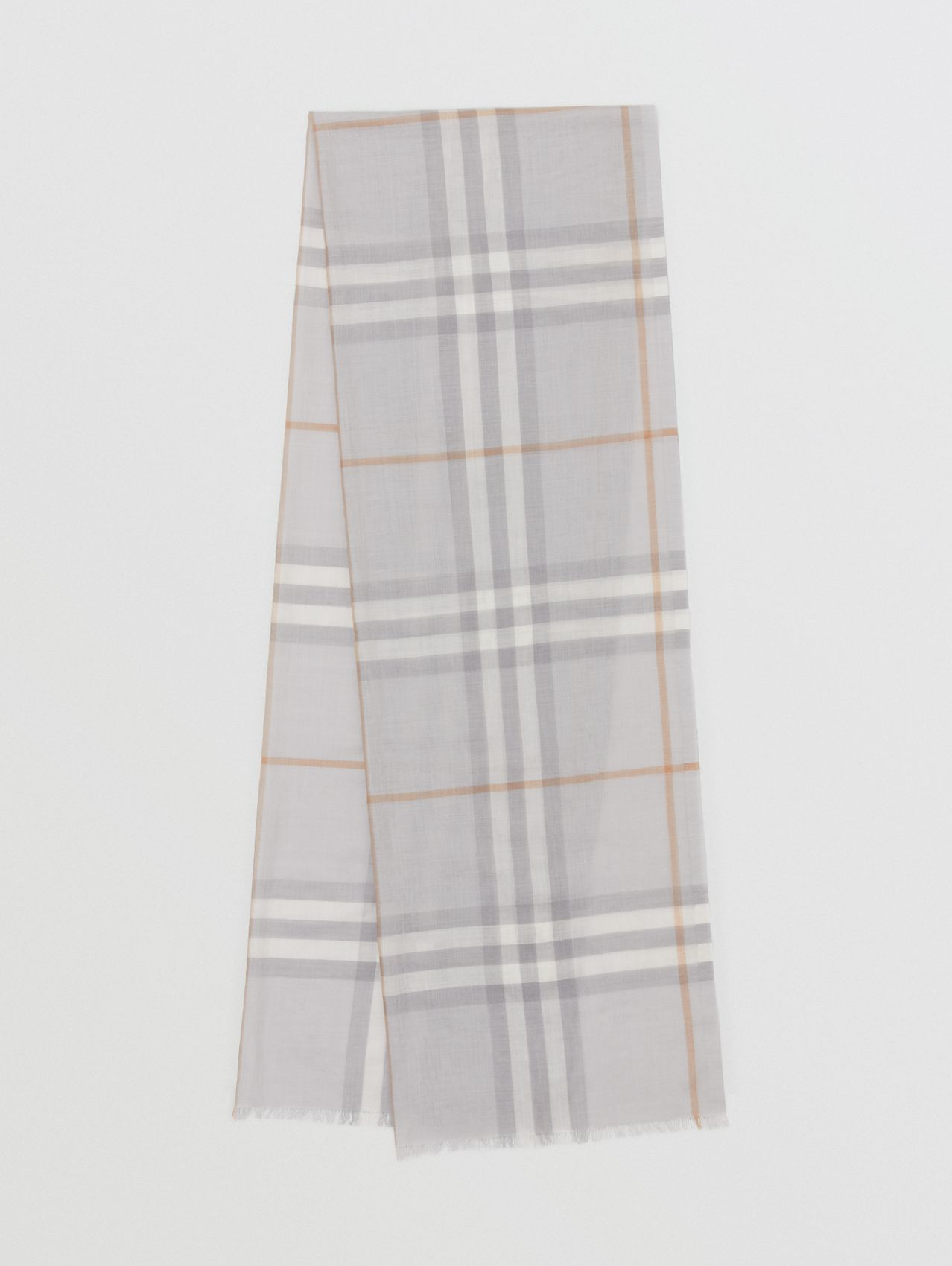 Lightweight Check Wool Silk Scarf in Light Grey
