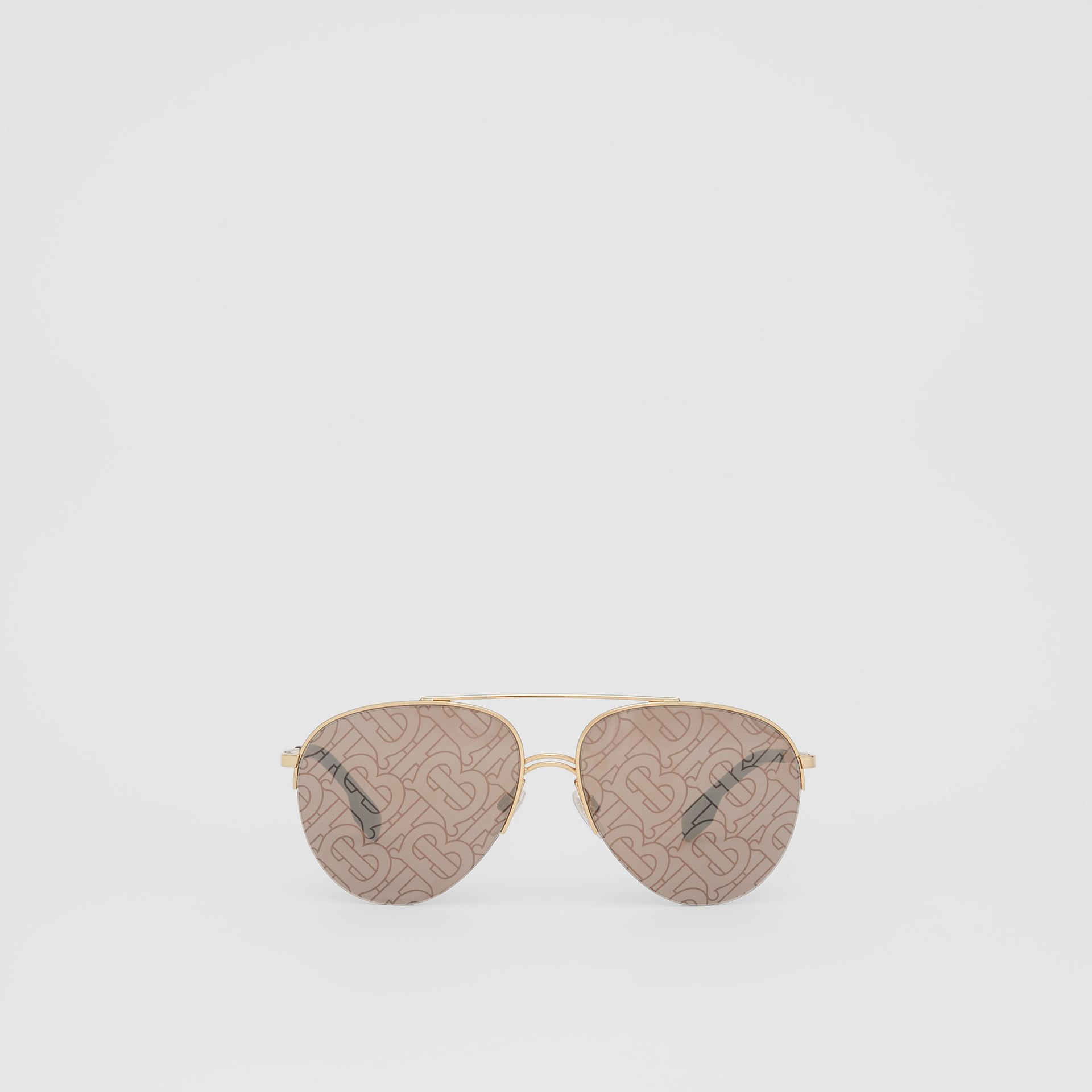 Monogram Print Detail Pilot Sunglasses in Dark Brown - Women | Burberry Canada - gallery image 0