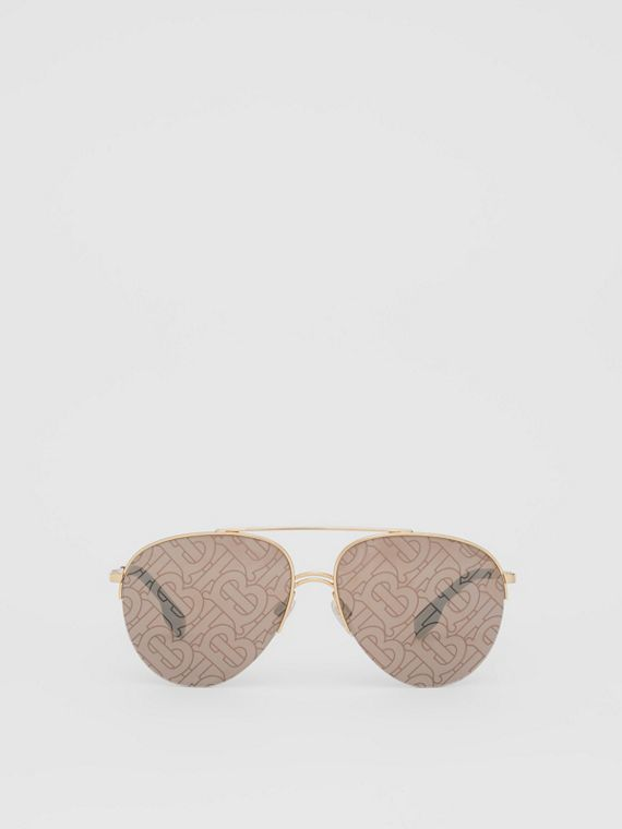 Monogram Print Detail Pilot Sunglasses in Dark Brown
