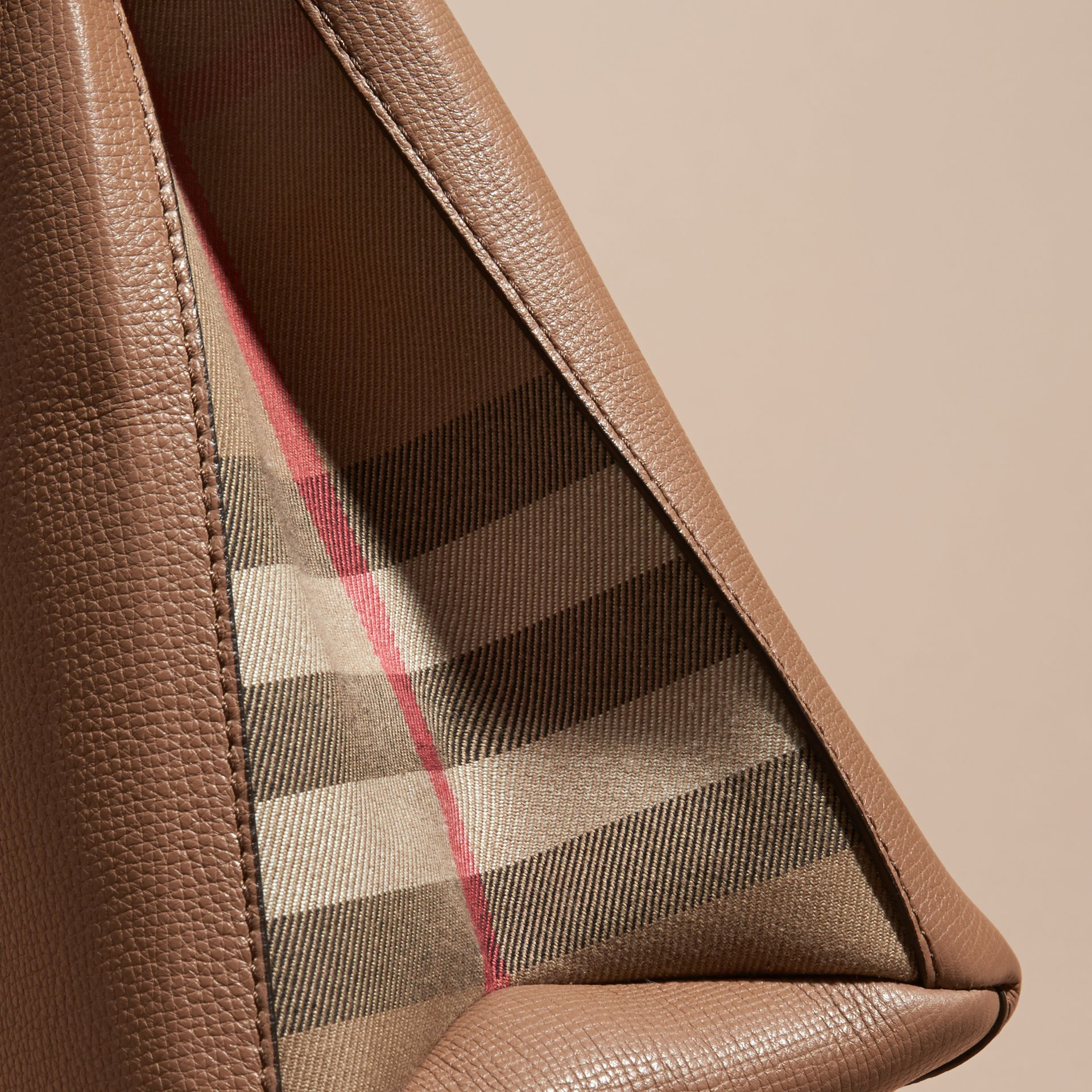 The Medium Banner in Leather and House Check Dark Sand - gallery image 7