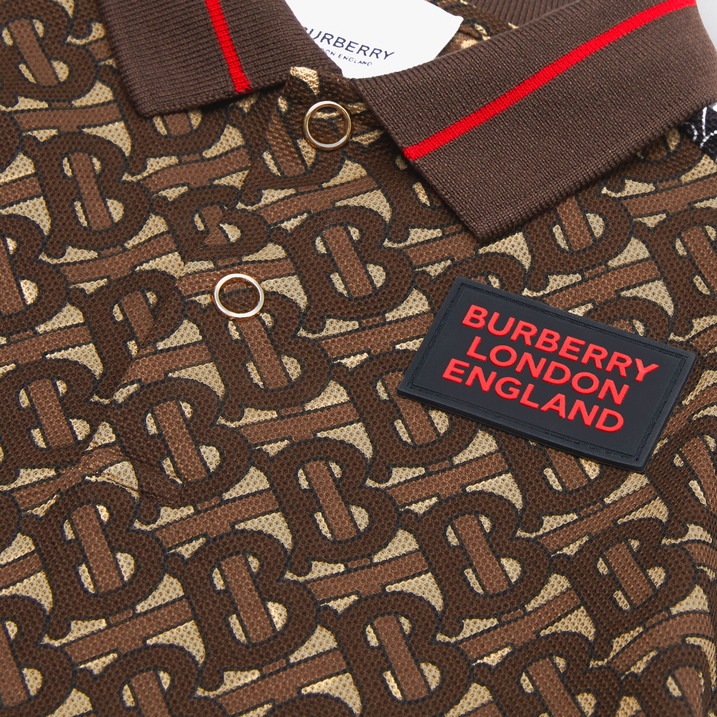 Monogram Stripe Print Cotton Piqué Polo Shirt in Bridle Brown - Children | Burberry - 2