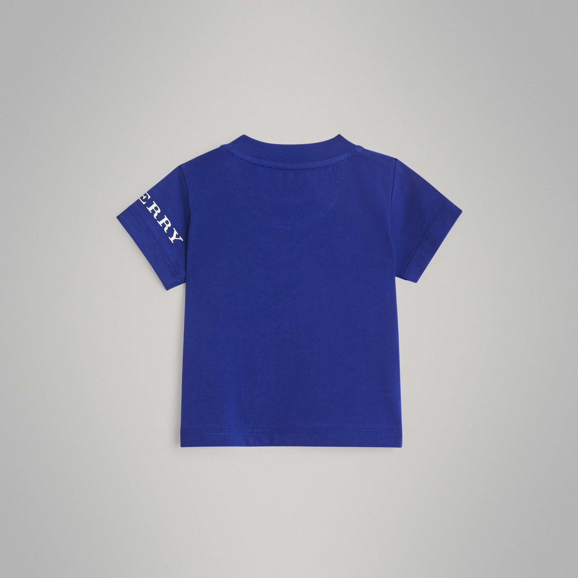 Logo Print Cotton T-shirt in Cobalt Blue - Children | Burberry - gallery image 3