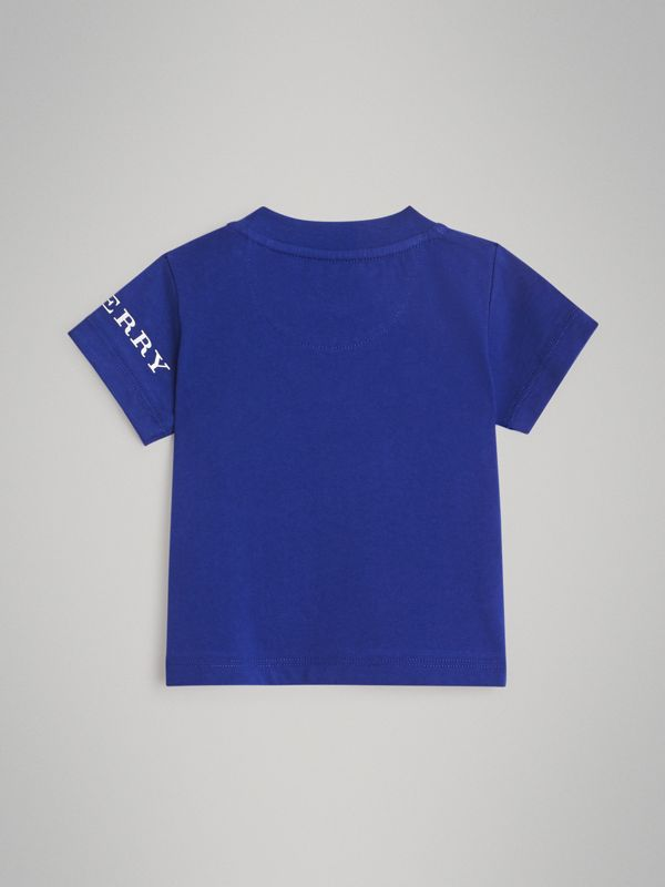 Logo Print Cotton T-shirt in Cobalt Blue - Children | Burberry - cell image 3