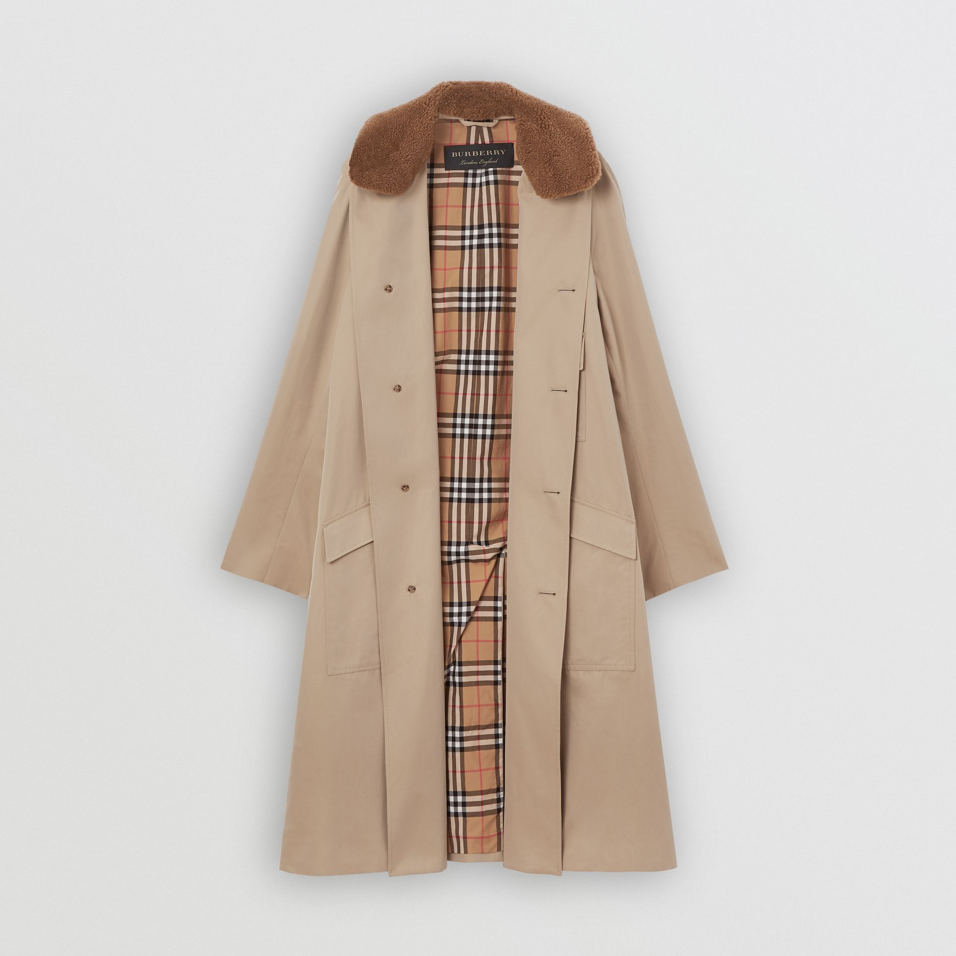 Detachable Shearling Collar Cotton Car Coat in Honey | Burberry - gallery image 7