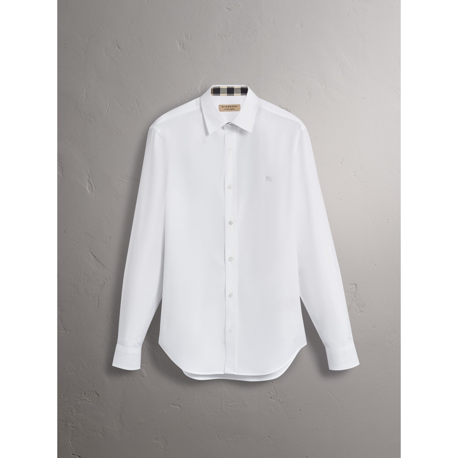 Stretch Cotton Poplin Shirt in White - Men | Burberry - gallery image 4