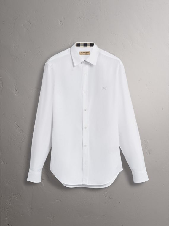 Stretch Cotton Poplin Shirt in White - Men | Burberry - cell image 3