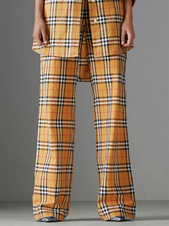 Vintage Check Drawcord Trousers in Antique Yellow - Women | Burberry - cell image 3