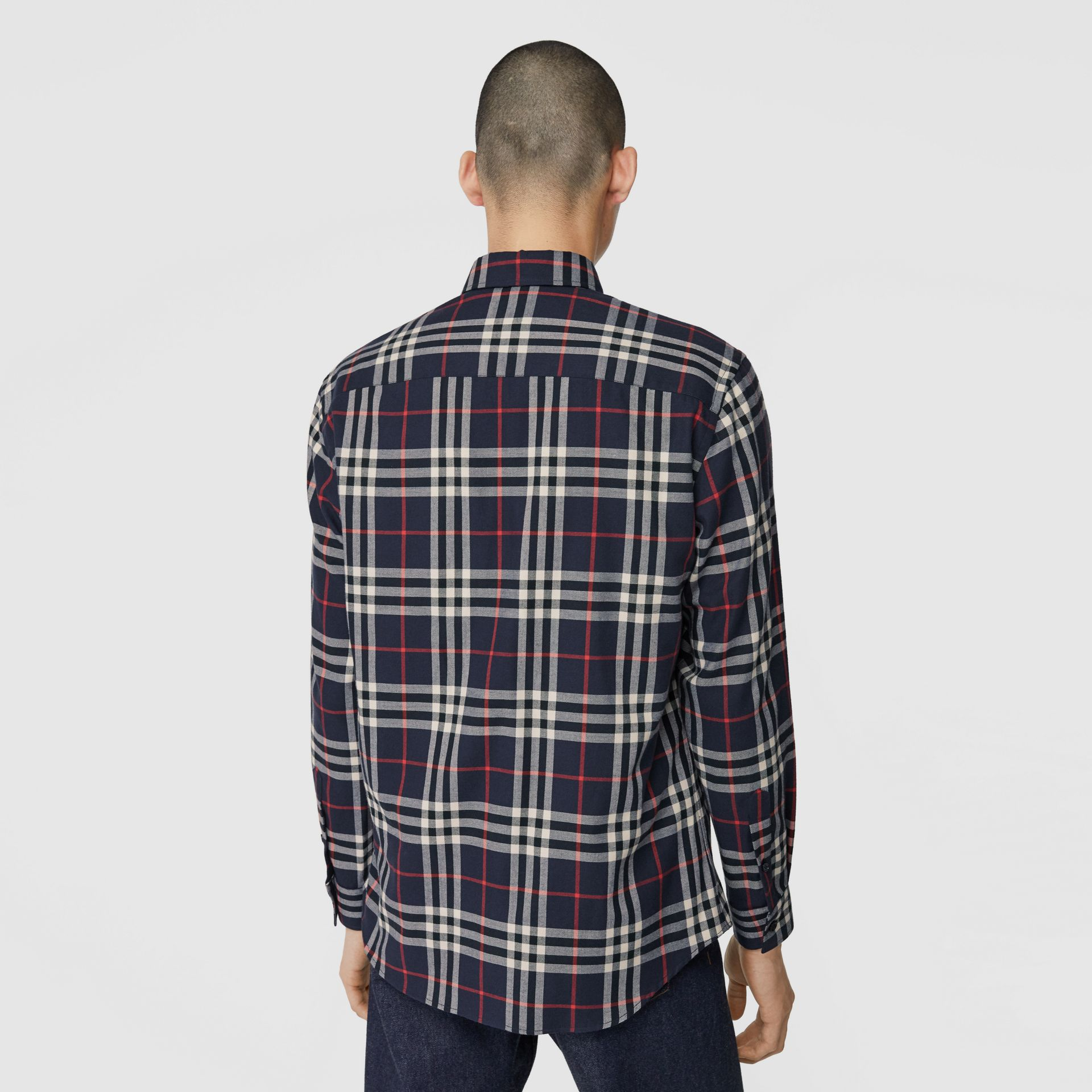 Vintage Check Cotton Flannel Shirt in Navy - Men | Burberry - gallery image 2