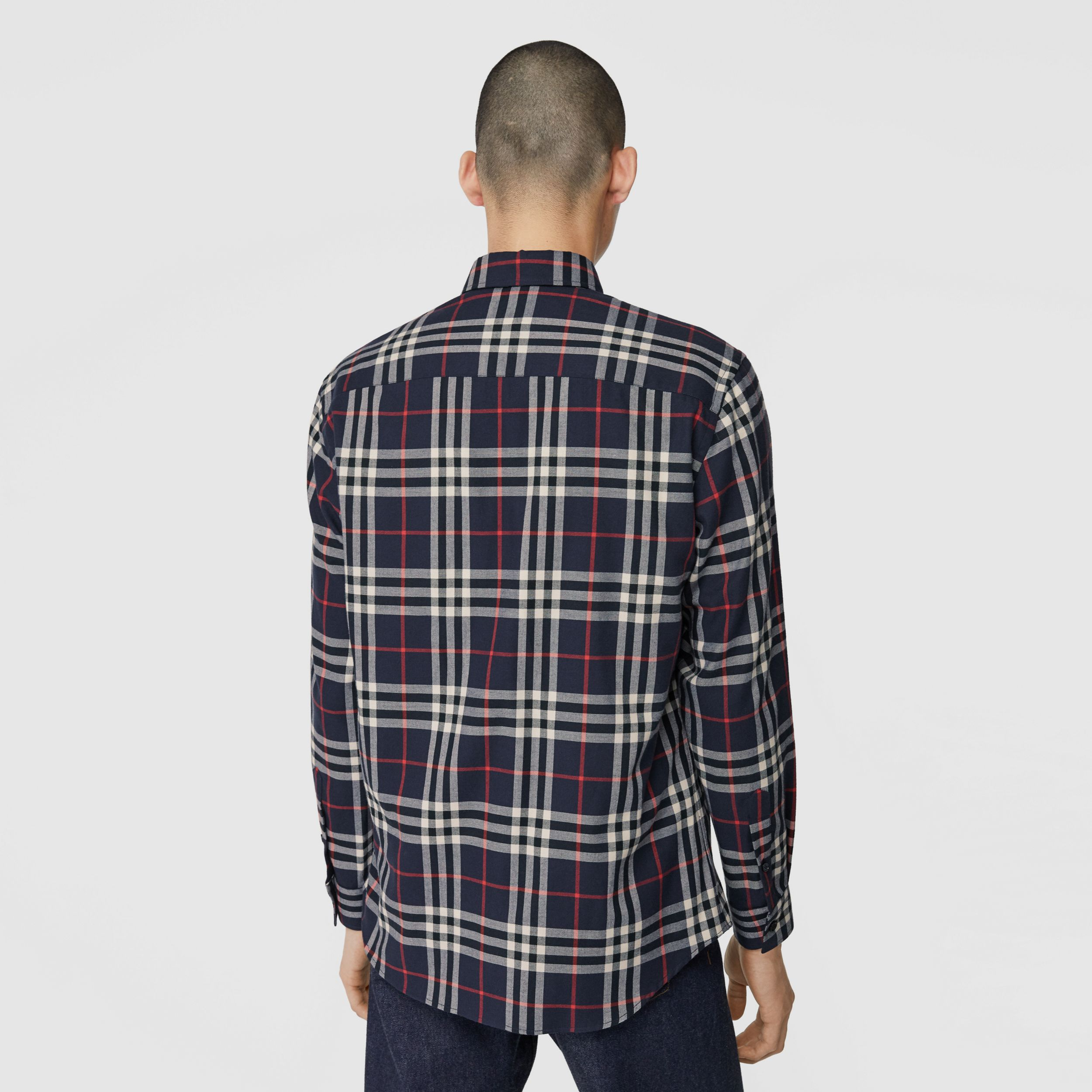 Vintage Check Cotton Flannel Shirt in Navy - Men | Burberry - 3