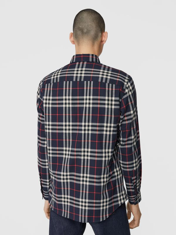 Vintage Check Cotton Flannel Shirt in Navy - Men | Burberry - cell image 2