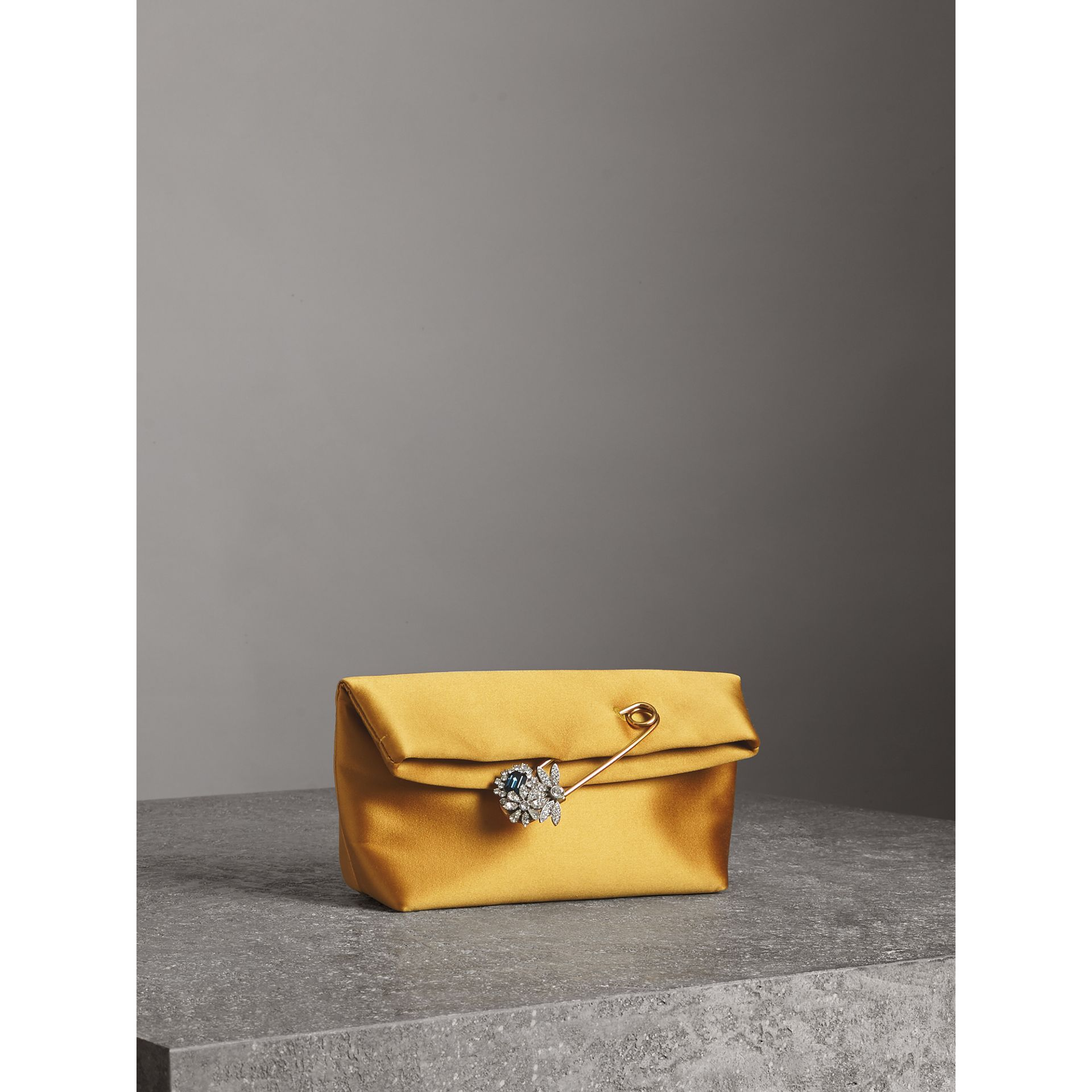 The Small Pin Clutch in Satin in Amber Yellow - Women | Burberry - gallery image 4