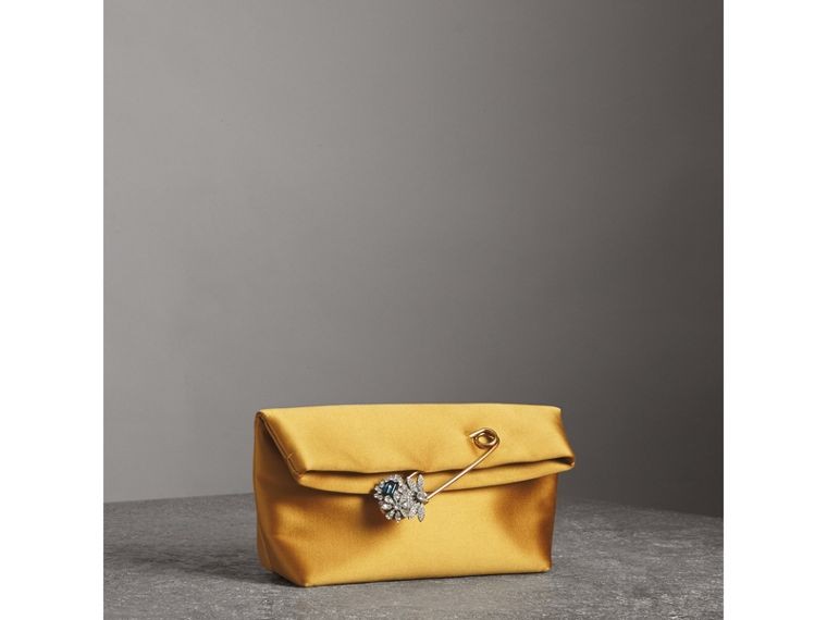 The Small Pin Clutch in Satin in Amber Yellow - Women | Burberry - cell image 4
