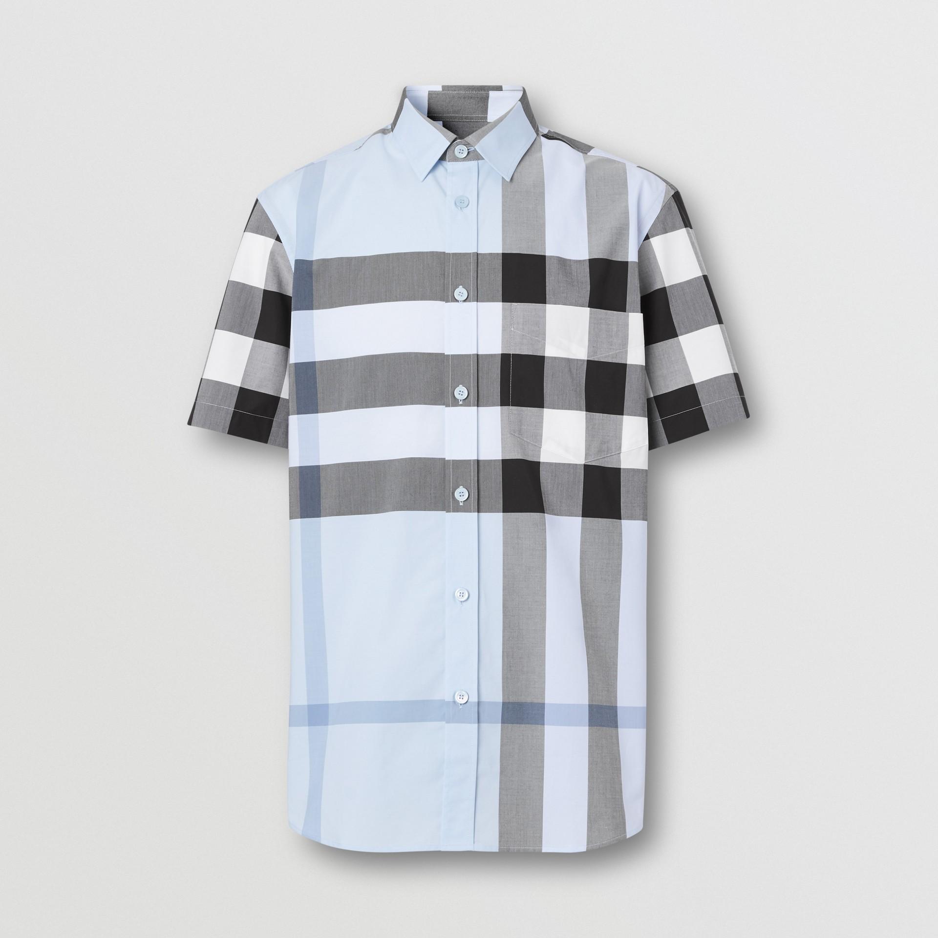 Short-sleeve Check Stretch Cotton Poplin Shirt in Chalk Blue - Men | Burberry Hong Kong S.A.R - gallery image 3